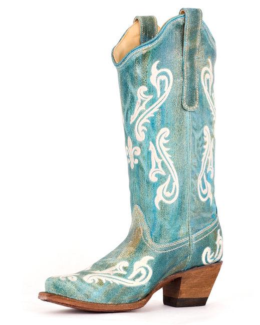 Country Outfitter, turquoise cortez cream fleur de lis, cowboy boot