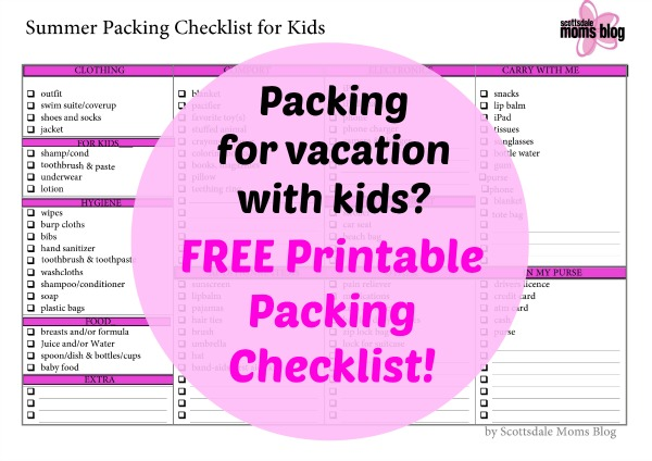 Packing Kids For Vacation Part  Free Printable Packing Checklist