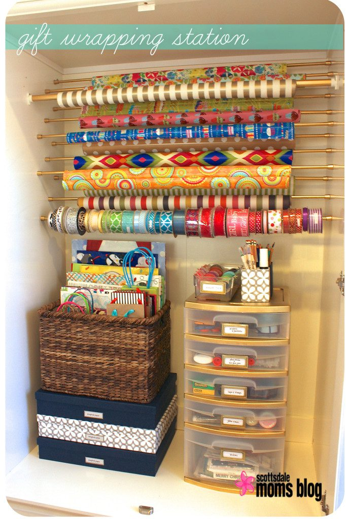 gift wrapping organization armoire