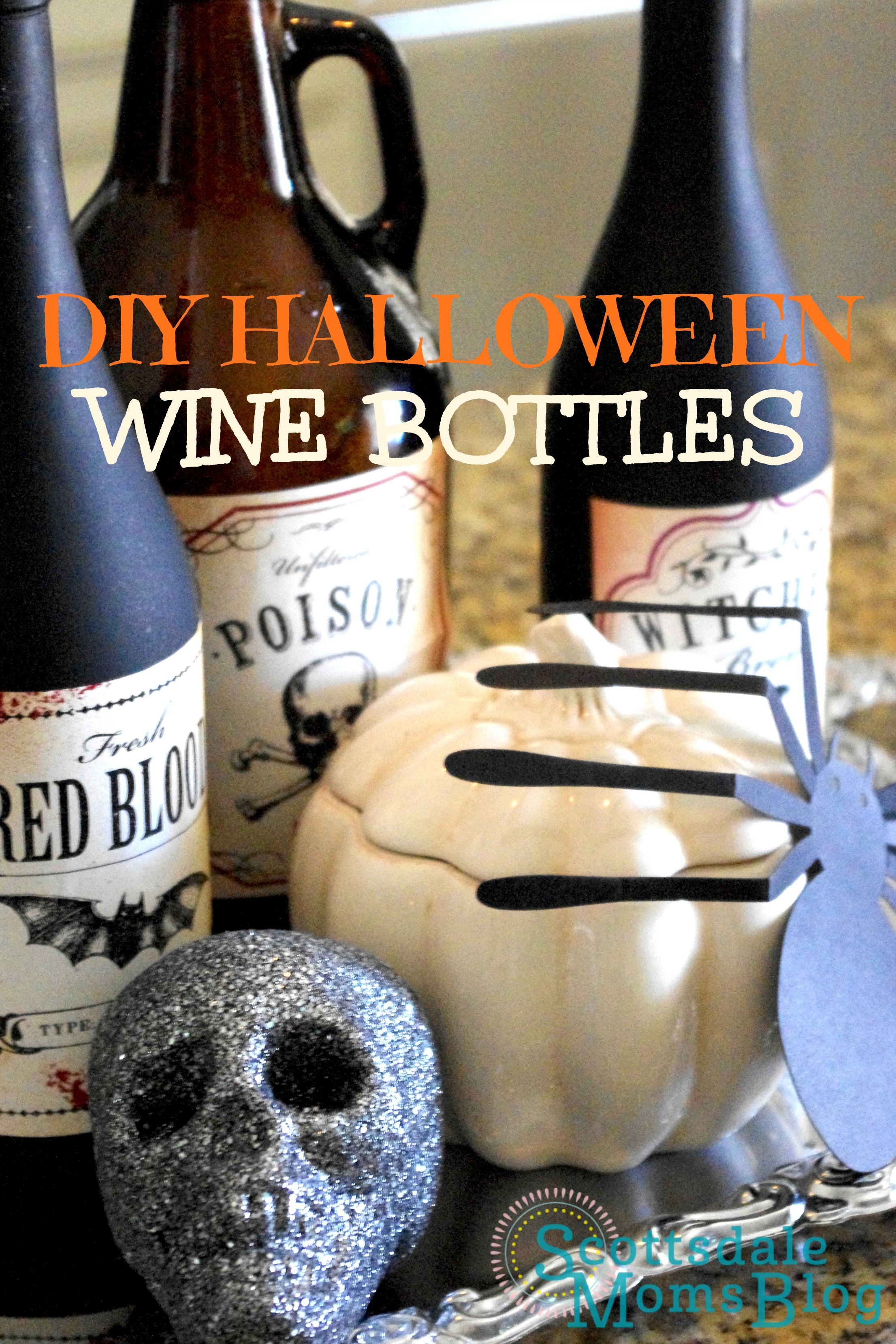 diy wine bottle graphic - When To Start Decorating For Halloween
