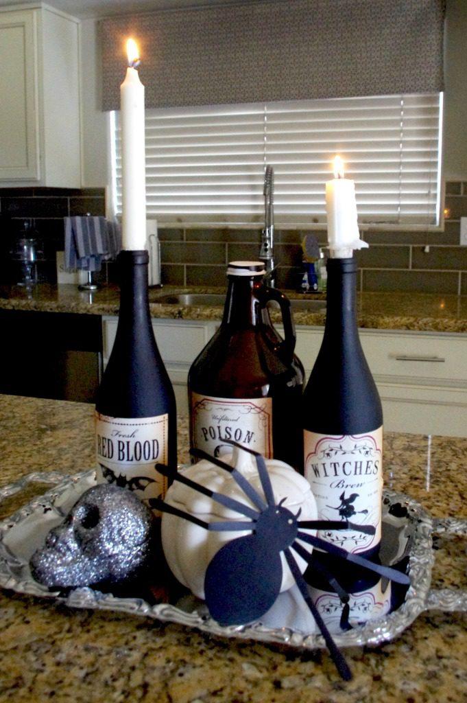 after halloween wine bottles