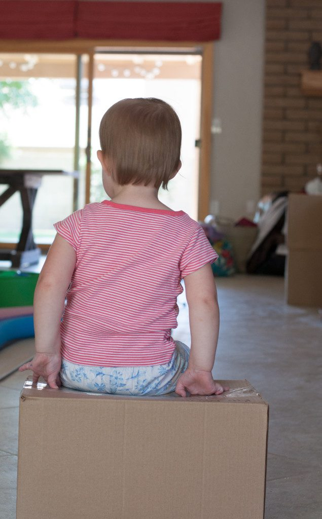 sitting on a moving box