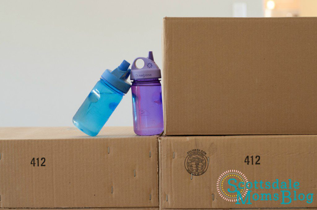 moving boxes with water bottles