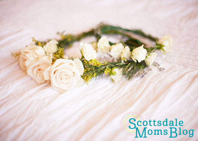 mommy + me white rose flower crowns for mother + child co sessions