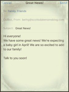 Old school email pregnancy announcement.