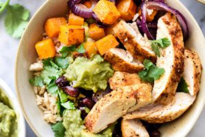 Roasted-Chicken-Butternut-Squash-Guacamole-Rice-Bowls-foodiecrush.com-019