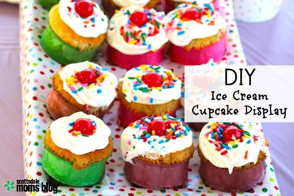 DIY Ice Cream Cone Cupcake Display