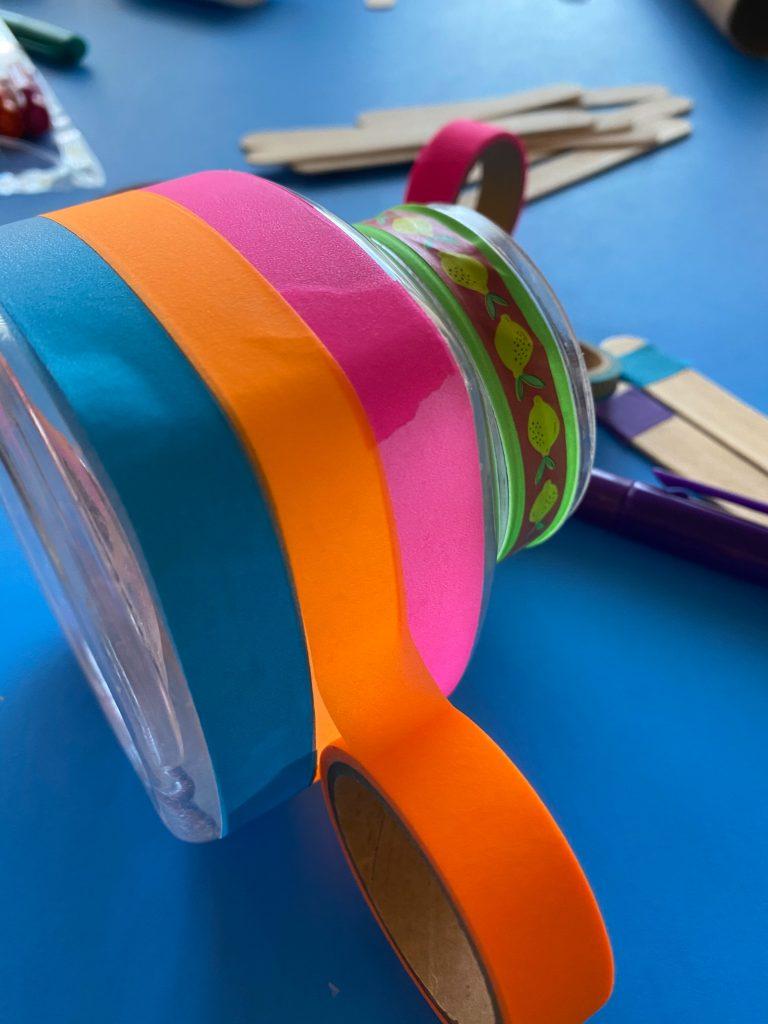 wraping washi tape on reward jar
